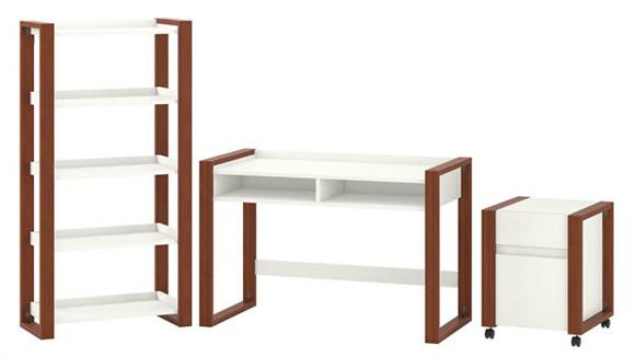 "Writing Desks Bush Furniture 48""W x 24""D Writing Desk with Etagere Bookcase and Mobile File Cabinet"