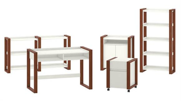 "Writing Desks Bush Furniture 48""W Writing Desk with File Cabinet, Bookcase, Accent Cabinet and Console Table"