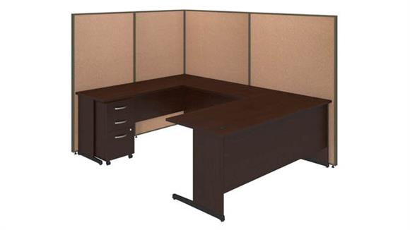 "Workstations & Cubicles Bush Furniture 72""W C-Leg U-Station and 3 Drawer Mobile Pedestal with ProPanels"