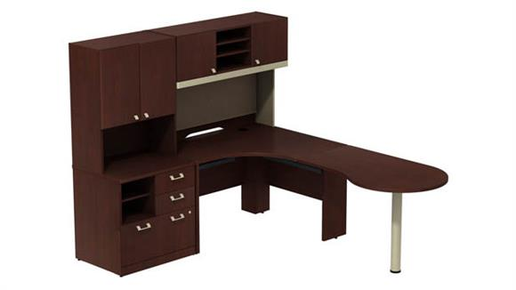 "L Shaped Desks Bush Furniture Right Hand Peninsula L Station with 48""W Hutch and 30""W Piler Filer with 30W Hutch"