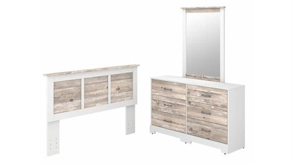 Bedroom Sets Bush Furniture 6 Drawer Dresser with Mirror and Full/Queen Size Headboard
