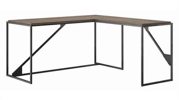 "L Shaped Desks Bush Furniture 62"" W L-Shaped Industrial Desk"