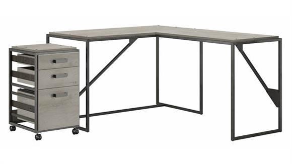 """L Shaped Desks Bush Furniture 50""""W L-Shaped Industrial Desk with 3 Drawer Mobile File Cabinet"""
