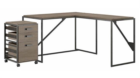 """L Shaped Desks Bush Furniture 50"""" W L-Shaped Industrial Desk with 3 Drawer Mobile File Cabinet"""