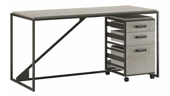 """Computer Desks Bush Furniture 62""""W Industrial Desk with 3 Drawer Mobile File Cabinet"""