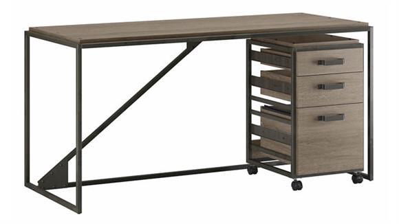 """Computer Desks Bush Furniture 62"""" W Industrial Desk with 3 Drawer Mobile File Cabinet"""