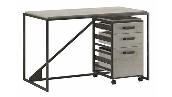 """Computer Desks Bush Furniture 50""""W Industrial Desk with 3 Drawer Mobile File Cabinet"""