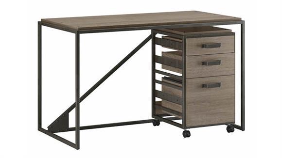"""Computer Desks Bush Furniture 50"""" W Industrial Desk with 3 Drawer Mobile File Cabinet"""