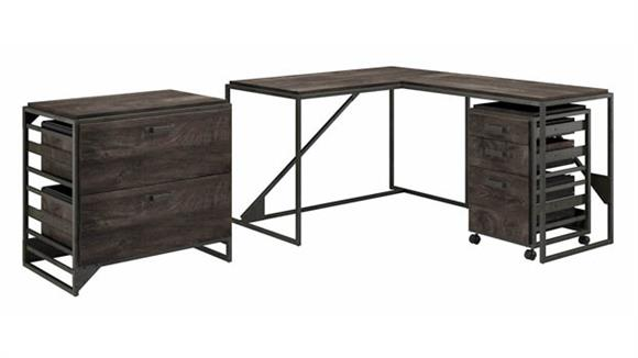 """L Shaped Desks Bush Furniture 50""""W L-Shaped Industrial Desk with Lateral and Mobile File Cabinets"""