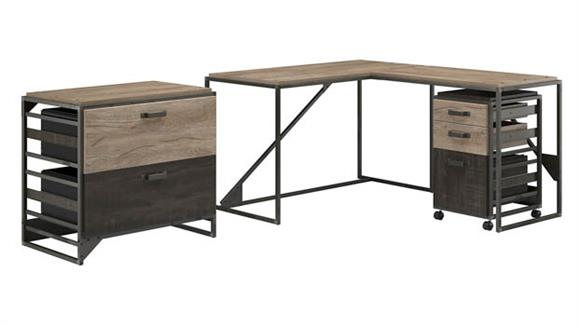 "L Shaped Desks Bush Furniture 50""W L-Shaped Industrial Desk with Lateral and Mobile File Cabinets"