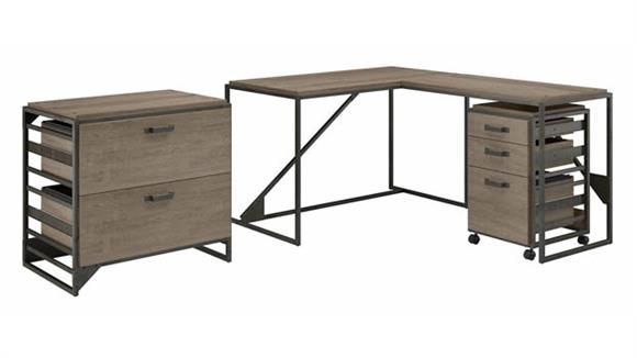 """L Shaped Desks Bush Furniture 50"""" W L-Shaped Industrial Desk with Lateral and Mobile File Cabinets"""