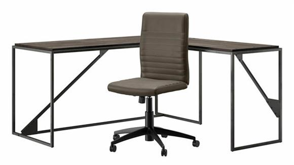 """L Shaped Desks Bush Furniture 62""""W L-Shaped Desk with Mid Back Ribbed Leather Office Chair"""