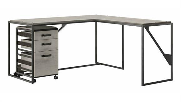"""L Shaped Desks Bush Furniture 62"""" W L-Shaped Industrial Desk with 3 Drawer Mobile File Cabinet"""
