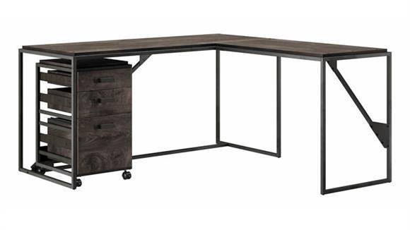 """L Shaped Desks Bush Furniture 62""""W L-Shaped Industrial Desk with 3 Drawer Mobile File Cabinet"""