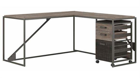 "L Shaped Desks Bush Furniture 62""W L-Shaped Industrial Desk with 3 Drawer Mobile File Cabinet"