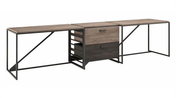 Computer Desks Bush Furniture 2 Person Industrial Desk Set with 1 Lateral File Cabinet