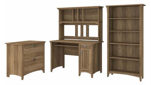 Computer Desks Bush Furniture Mission Desk with Hutch, Lateral File Cabinet and 5 Shelf Bookcase