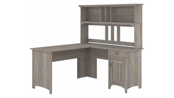 "L Shaped Desks Bush Furniture 60"" W L-Shaped Desk with Hutch"