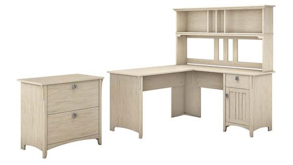 """L Shaped Desks Bush Furniture 60"""" W L Shaped Desk with Hutch and Lateral File Cabinet"""