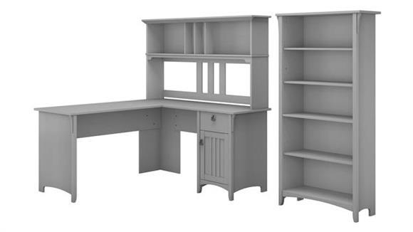 "L Shaped Desks Bush Furniture 60"" W L Shaped Desk with Hutch and 5 Shelf Bookcase"