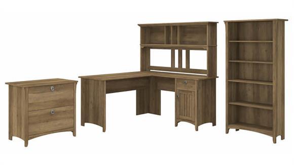 "L Shaped Desks Bush Furniture 60"" W L-Shaped Desk with Hutch, Lateral File Cabinet and 5 Shelf Bookcase"