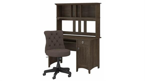 """Computer Desks Bush Furniture 48"""" W Computer Desk with Hutch and Mid Back Tufted Office Chair"""