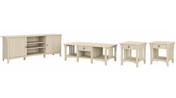 Coffee Tables Bush Furniture TV Stand, Coffee Table and Set of 2 End Tables