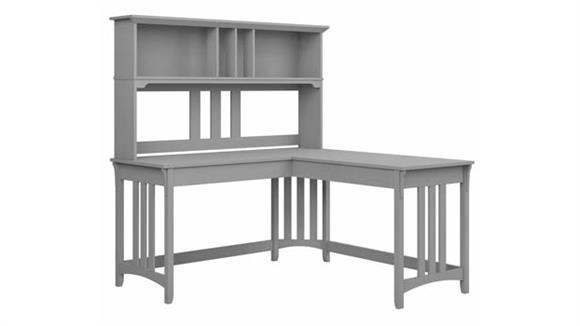 "L Shaped Desks Bush Furniture 60"" W L-Shaped Writing Desk with Hutch"