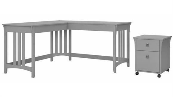 "L Shaped Desks Bush Furniture 60"" W L-Shaped Writing Desk with Mobile File Cabinet"