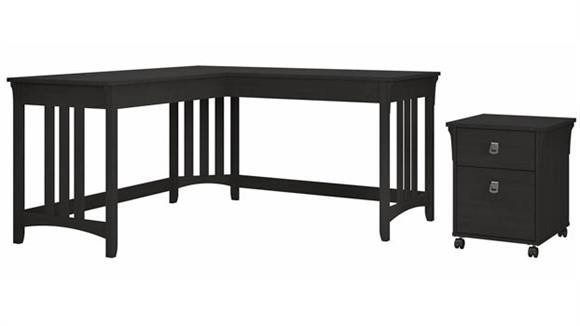 "L Shaped Desks Bush Furniture 60""W L-Shaped Writing Desk with Mobile File Cabinet"