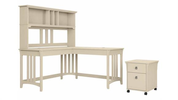 """L Shaped Desks Bush Furniture 60"""" W L-Shaped Writing Desk with Hutch and Mobile File Cabinet"""