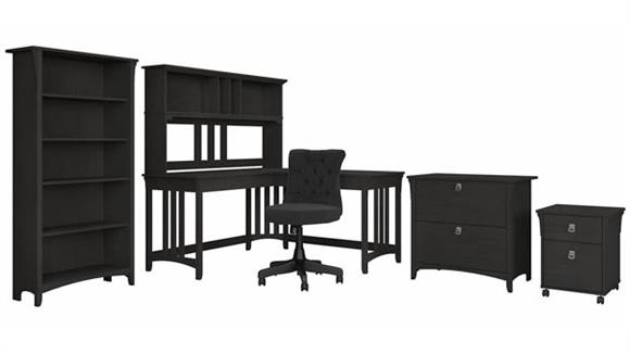 """L Shaped Desks Bush Furniture 60""""W L-Shaped Desk and Chair Set with Hutch, Mobile and Lateral File Cabinets and Bookcase"""