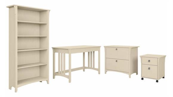 """Writing Desks Bush Furniture 48"""" W Writing Desk with Mobile and Lateral File Cabinets and Bookcase"""
