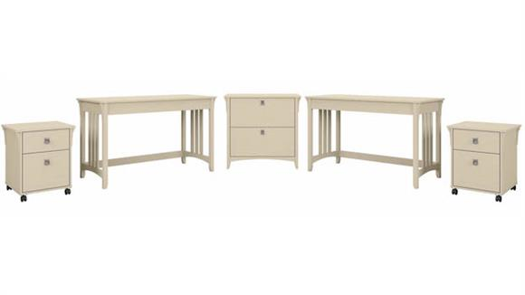 Workstations & Cubicles Bush Furniture 2 Person Desk Set with 2 Mobile File Cabinets and 1 Lateral File Cabinet