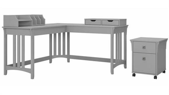 "L Shaped Desks Bush Furniture 60"" W L-Shaped Writing Desk with Mobile File Cabinet and Desktop Organizers"