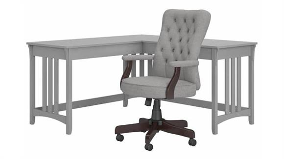 """L Shaped Desks Bush Furniture 60""""W L-Shaped Writing Desk with High Back Tufted Office Chair"""