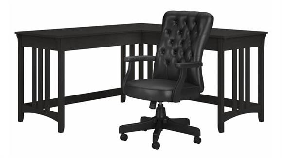 """L Shaped Desks Bush Furniture 60"""" W L-Shaped Writing Desk with High Back Tufted Office Chair"""
