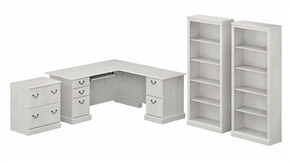 Executive Desks Bush Furniture L-Shaped Executive Desk with Lateral File Cabinet and Bookcase Set
