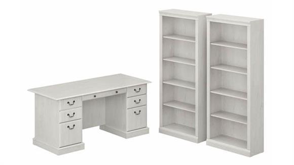 Executive Desks Bush Furniture Executive Desk and Bookcase Set