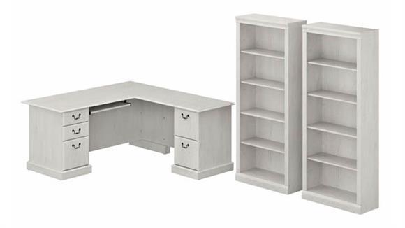 L Shaped Desks Bush Furniture L-Shaped Executive Desk and Bookcase Set