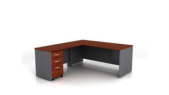 """L Shaped Desks Bush Furniture 72"""" W L-Shaped Desk and Assembled 3 Drawer Mobile File Cabinet"""