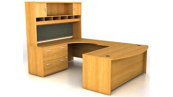 U Shaped Desks Bush Furniture Bow Front U Shaped Desk with Hutch