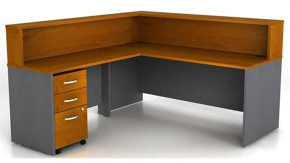 "Reception Desks Bush Furniture 72""W L-Shaped Reception Desk with Assembled 3 Drawer Mobile File Cabinet"