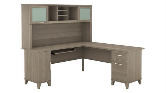 "L Shaped Desks Bush Furniture 72""W L-Shaped Desk with Hutch"