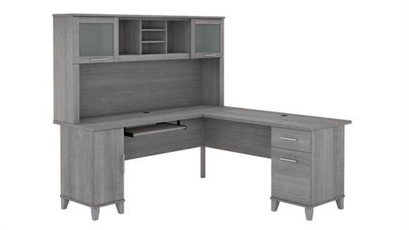 "L Shaped Desks Bush Furniture 72"" W L-Shaped Desk with Hutch"