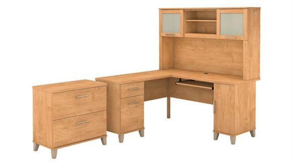 "L Shaped Desks Bush Furniture 60""W L Shaped Desk with Hutch and Lateral File Cabinet"