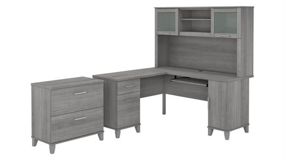"""L Shaped Desks Bush Furniture 60"""" W L-Shaped Desk with Hutch and Lateral File Cabinet"""