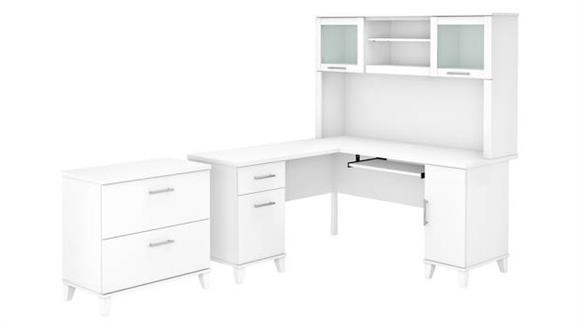 """L Shaped Desks Bush Furniture 60""""W L-Shaped Desk with Hutch and Lateral File Cabinet"""