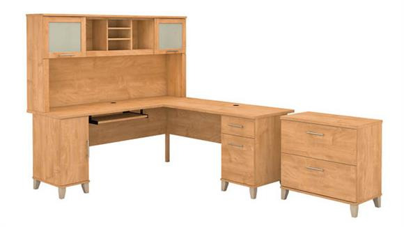 "L Shaped Desks Bush Furniture 72""W L Shaped Desk with Hutch and Lateral File Cabinet"