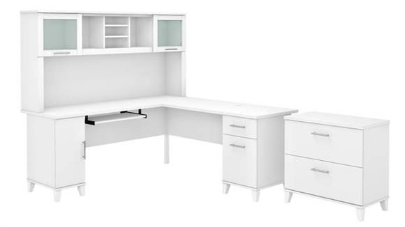 """L Shaped Desks Bush Furniture 72"""" W L-Shaped Desk with Hutch and Lateral File Cabinet"""